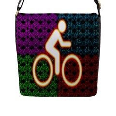 Bike Neon Colors Graphic Bright Bicycle Light Purple Orange Gold Green Blue Flap Messenger Bag (l)  by Alisyart
