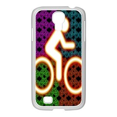 Bike Neon Colors Graphic Bright Bicycle Light Purple Orange Gold Green Blue Samsung Galaxy S4 I9500/ I9505 Case (white)