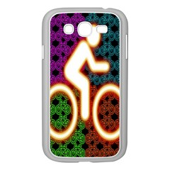 Bike Neon Colors Graphic Bright Bicycle Light Purple Orange Gold Green Blue Samsung Galaxy Grand Duos I9082 Case (white)