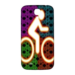 Bike Neon Colors Graphic Bright Bicycle Light Purple Orange Gold Green Blue Samsung Galaxy S4 I9500/i9505  Hardshell Back Case
