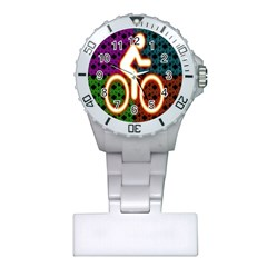 Bike Neon Colors Graphic Bright Bicycle Light Purple Orange Gold Green Blue Plastic Nurses Watch by Alisyart