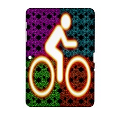 Bike Neon Colors Graphic Bright Bicycle Light Purple Orange Gold Green Blue Samsung Galaxy Tab 2 (10 1 ) P5100 Hardshell Case