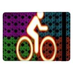Bike Neon Colors Graphic Bright Bicycle Light Purple Orange Gold Green Blue Samsung Galaxy Tab Pro 12 2  Flip Case by Alisyart