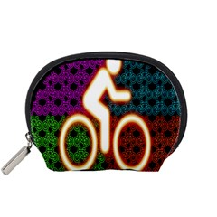 Bike Neon Colors Graphic Bright Bicycle Light Purple Orange Gold Green Blue Accessory Pouches (small)  by Alisyart