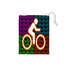 Bike Neon Colors Graphic Bright Bicycle Light Purple Orange Gold Green Blue Drawstring Pouches (small)  by Alisyart