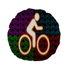 Bike Neon Colors Graphic Bright Bicycle Light Purple Orange Gold Green Blue Standard 15  Premium Flano Round Cushions