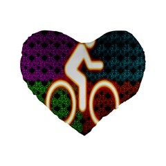 Bike Neon Colors Graphic Bright Bicycle Light Purple Orange Gold Green Blue Standard 16  Premium Flano Heart Shape Cushions