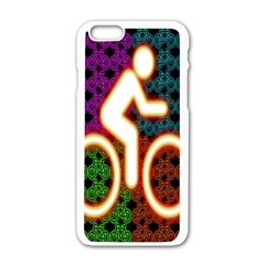 Bike Neon Colors Graphic Bright Bicycle Light Purple Orange Gold Green Blue Apple Iphone 6/6s White Enamel Case