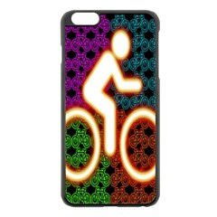 Bike Neon Colors Graphic Bright Bicycle Light Purple Orange Gold Green Blue Apple Iphone 6 Plus/6s Plus Black Enamel Case