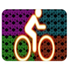 Bike Neon Colors Graphic Bright Bicycle Light Purple Orange Gold Green Blue Double Sided Flano Blanket (medium)