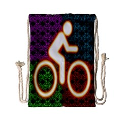 Bike Neon Colors Graphic Bright Bicycle Light Purple Orange Gold Green Blue Drawstring Bag (small) by Alisyart