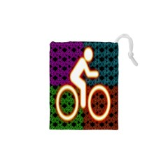 Bike Neon Colors Graphic Bright Bicycle Light Purple Orange Gold Green Blue Drawstring Pouches (xs)  by Alisyart