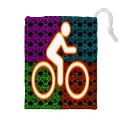Bike Neon Colors Graphic Bright Bicycle Light Purple Orange Gold Green Blue Drawstring Pouches (extra Large) by Alisyart