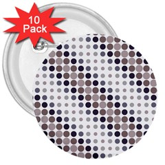 Circle Blue Grey Line Waves Black 3  Buttons (10 Pack)