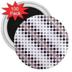 Circle Blue Grey Line Waves Black 3  Magnets (100 Pack)
