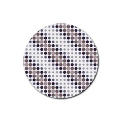 Circle Blue Grey Line Waves Black Rubber Coaster (round)  by Alisyart