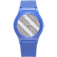 Circle Blue Grey Line Waves Black Round Plastic Sport Watch (s) by Alisyart