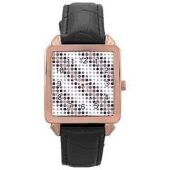 Circle Blue Grey Line Waves Black Rose Gold Leather Watch  by Alisyart
