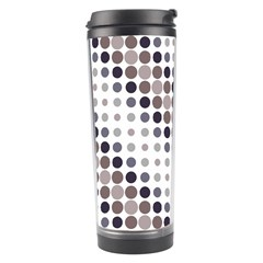 Circle Blue Grey Line Waves Black Travel Tumbler by Alisyart