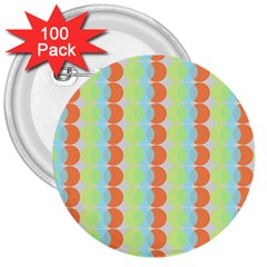 Circles Orange Blue Green Yellow 3  Buttons (100 Pack)  by Alisyart