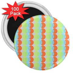Circles Orange Blue Green Yellow 3  Magnets (100 Pack) by Alisyart