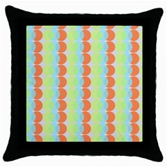 Circles Orange Blue Green Yellow Throw Pillow Case (black) by Alisyart