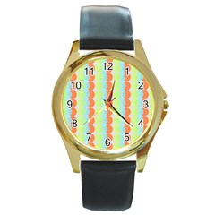 Circles Orange Blue Green Yellow Round Gold Metal Watch