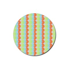 Circles Orange Blue Green Yellow Rubber Round Coaster (4 Pack)  by Alisyart