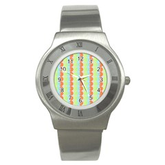 Circles Orange Blue Green Yellow Stainless Steel Watch by Alisyart