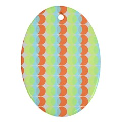 Circles Orange Blue Green Yellow Oval Ornament (two Sides)