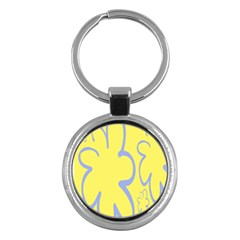 Doodle Shapes Large Flower Floral Grey Yellow Key Chains (round)  by Alisyart