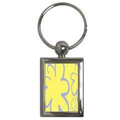 Doodle Shapes Large Flower Floral Grey Yellow Key Chains (rectangle)