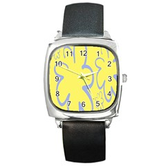 Doodle Shapes Large Flower Floral Grey Yellow Square Metal Watch by Alisyart