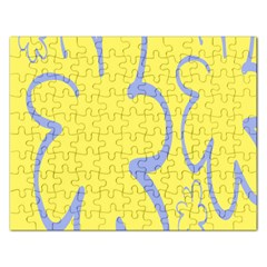 Doodle Shapes Large Flower Floral Grey Yellow Rectangular Jigsaw Puzzl by Alisyart