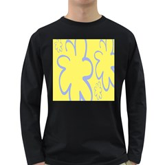 Doodle Shapes Large Flower Floral Grey Yellow Long Sleeve Dark T Shirts