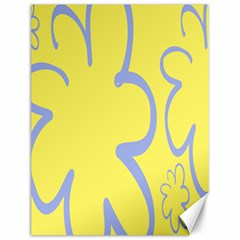 Doodle Shapes Large Flower Floral Grey Yellow Canvas 12  X 16   by Alisyart