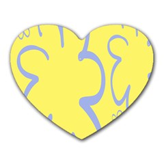 Doodle Shapes Large Flower Floral Grey Yellow Heart Mousepads by Alisyart