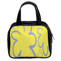 Doodle Shapes Large Flower Floral Grey Yellow Classic Handbags (2 Sides) by Alisyart