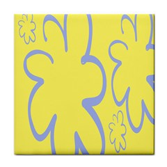 Doodle Shapes Large Flower Floral Grey Yellow Face Towel