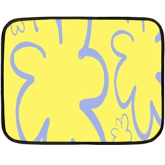 Doodle Shapes Large Flower Floral Grey Yellow Fleece Blanket (mini)
