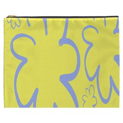 Doodle Shapes Large Flower Floral Grey Yellow Cosmetic Bag (xxxl)