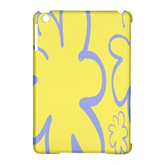 Doodle Shapes Large Flower Floral Grey Yellow Apple Ipad Mini Hardshell Case (compatible With Smart Cover)