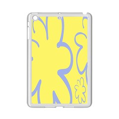 Doodle Shapes Large Flower Floral Grey Yellow Ipad Mini 2 Enamel Coated Cases