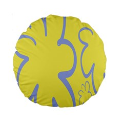 Doodle Shapes Large Flower Floral Grey Yellow Standard 15  Premium Round Cushions by Alisyart