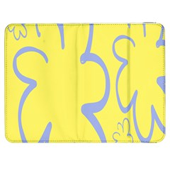 Doodle Shapes Large Flower Floral Grey Yellow Samsung Galaxy Tab 7  P1000 Flip Case