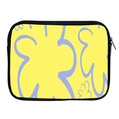 Doodle Shapes Large Flower Floral Grey Yellow Apple Ipad 2/3/4 Zipper Cases