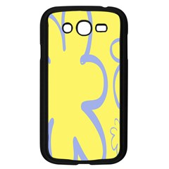 Doodle Shapes Large Flower Floral Grey Yellow Samsung Galaxy Grand Duos I9082 Case (black)