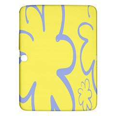 Doodle Shapes Large Flower Floral Grey Yellow Samsung Galaxy Tab 3 (10 1 ) P5200 Hardshell Case