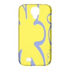 Doodle Shapes Large Flower Floral Grey Yellow Samsung Galaxy S4 Classic Hardshell Case (pc+silicone)