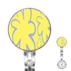 Doodle Shapes Large Flower Floral Grey Yellow Stainless Steel Nurses Watch